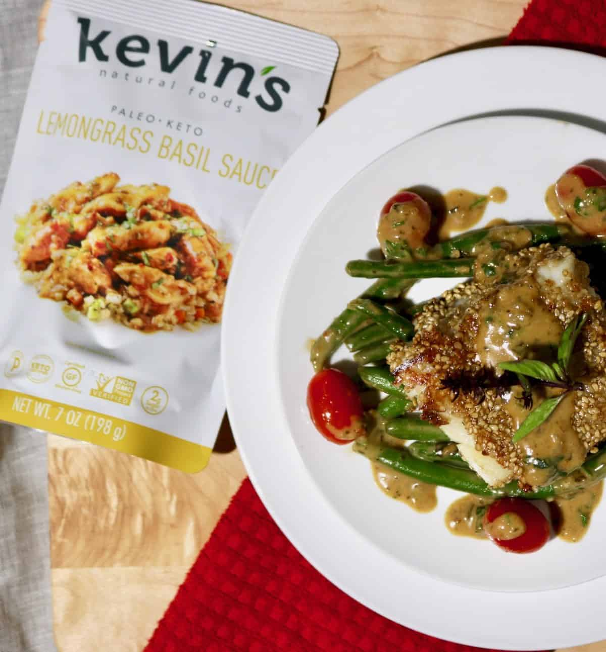 plate of sesame crusted cod green beans and tomatoes with lemongrass basil sauce product package