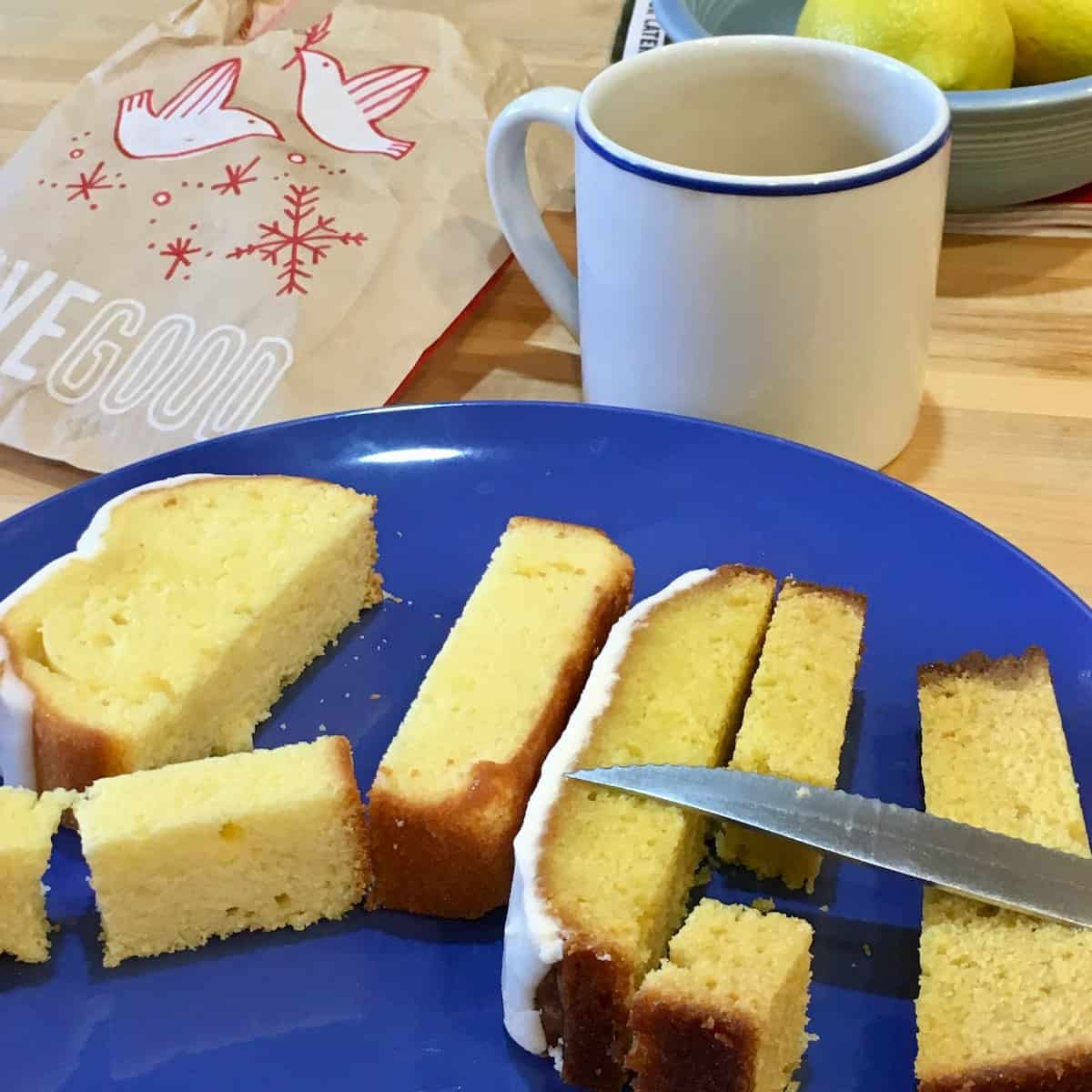 pieces of lemon cake on blue plate