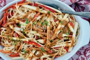 serving dish with pear pad Thai salad