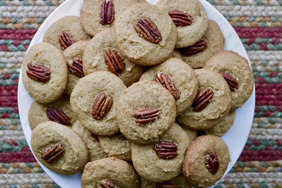 plate of baked pecan cookies