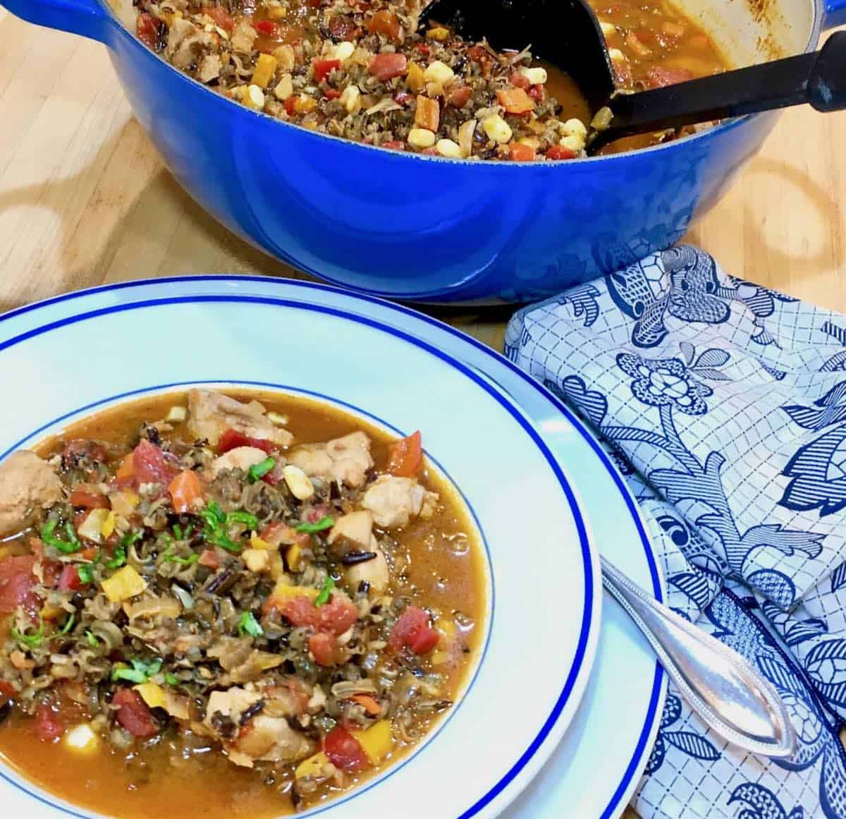 your favorite recipe for 2017 wild rice chicken soup and pot of soup with ladle