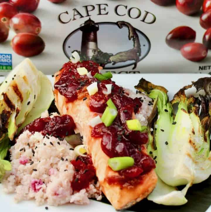 Grilled Cranberry Glazed Salmon In Banana Leaf With Cranberry Cauliflower Rice