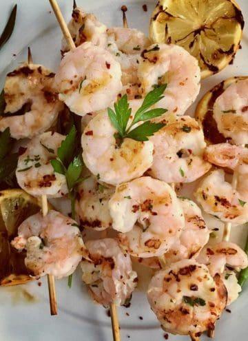 meyer lemon grilled shrimp on skewers