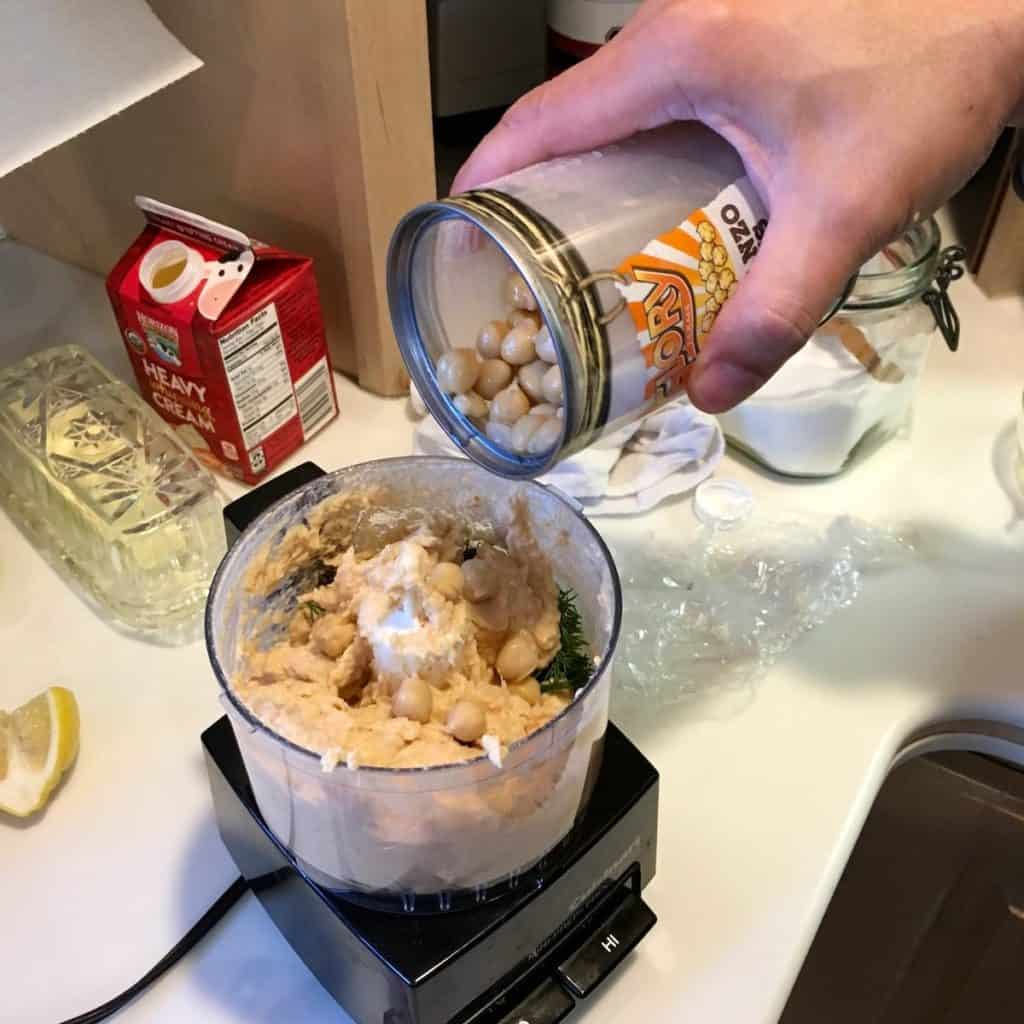 food processor with ingredients for an easy party pate