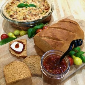 tomato bread, pie and jam board