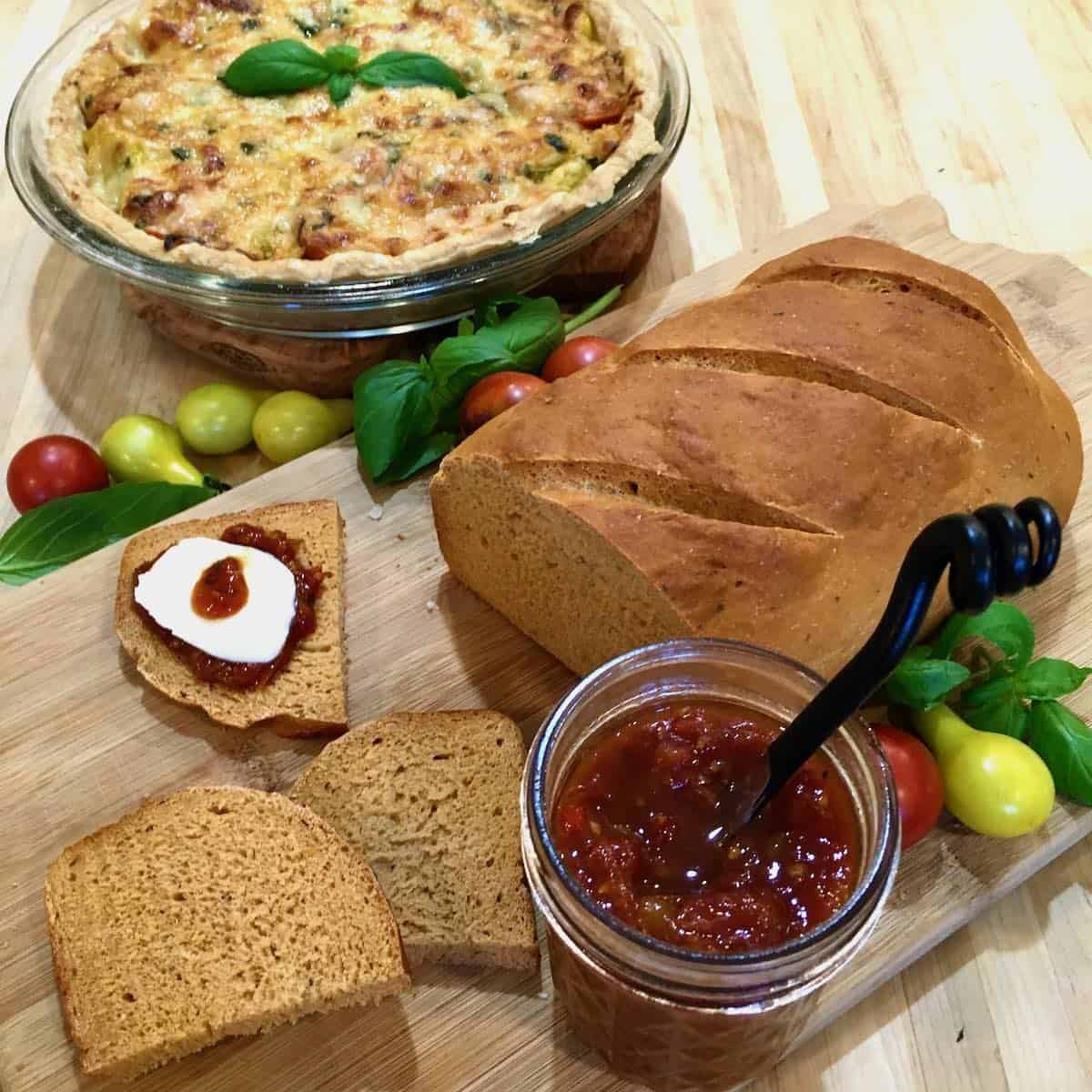 tomato pie, tomato jam and tomato bread