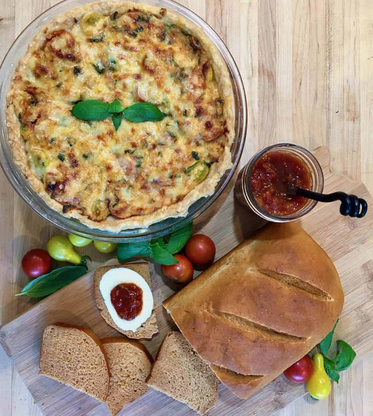 tomato pie, tomato jam and tomato bread overhead shot