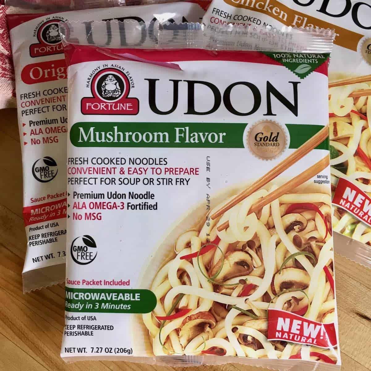 product shot of mushroom udon noodles