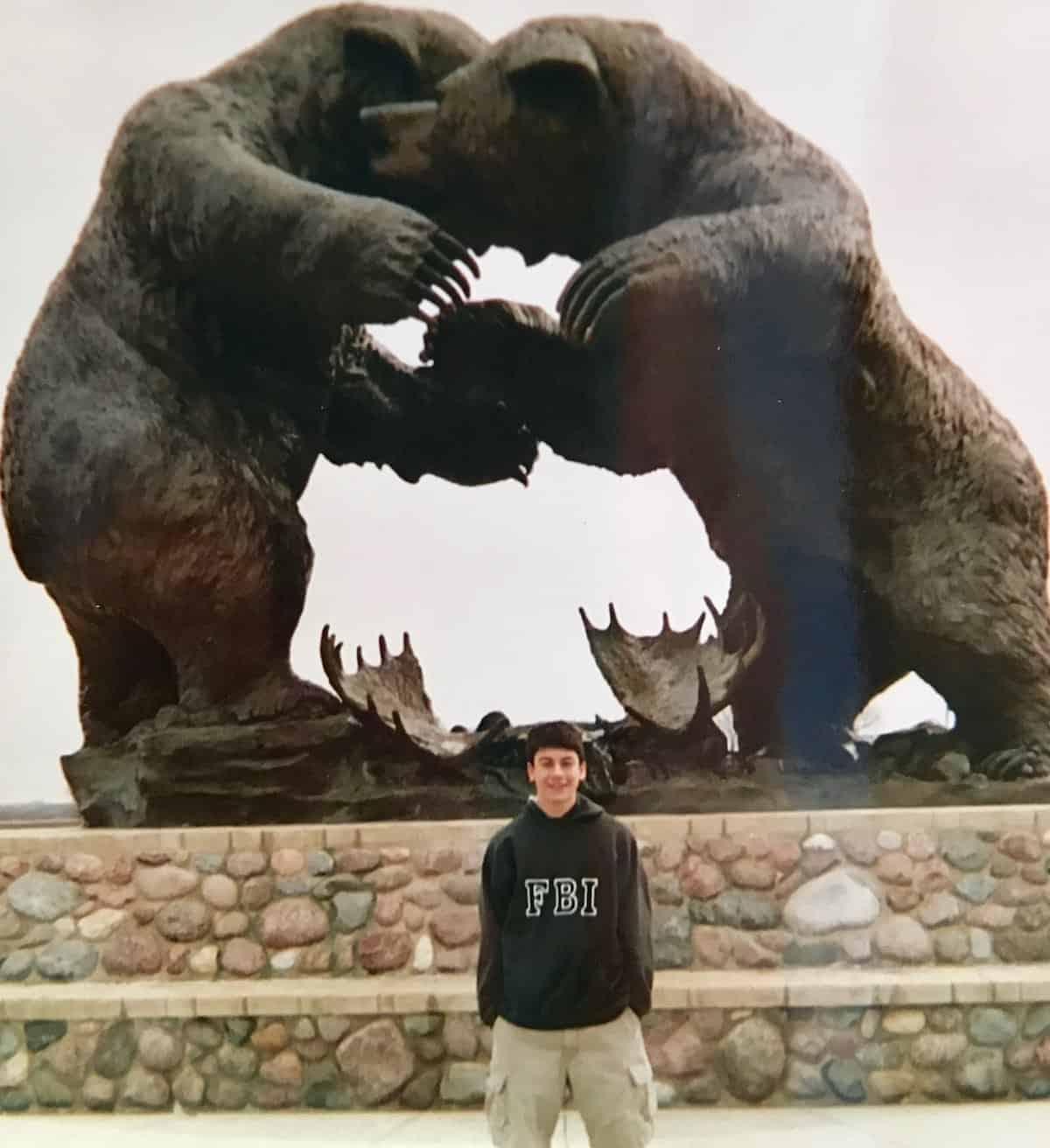 my son at bear sculpture