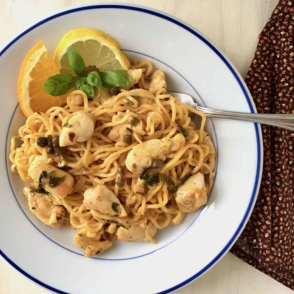 a recipe with yakisoba orange chicken piccata