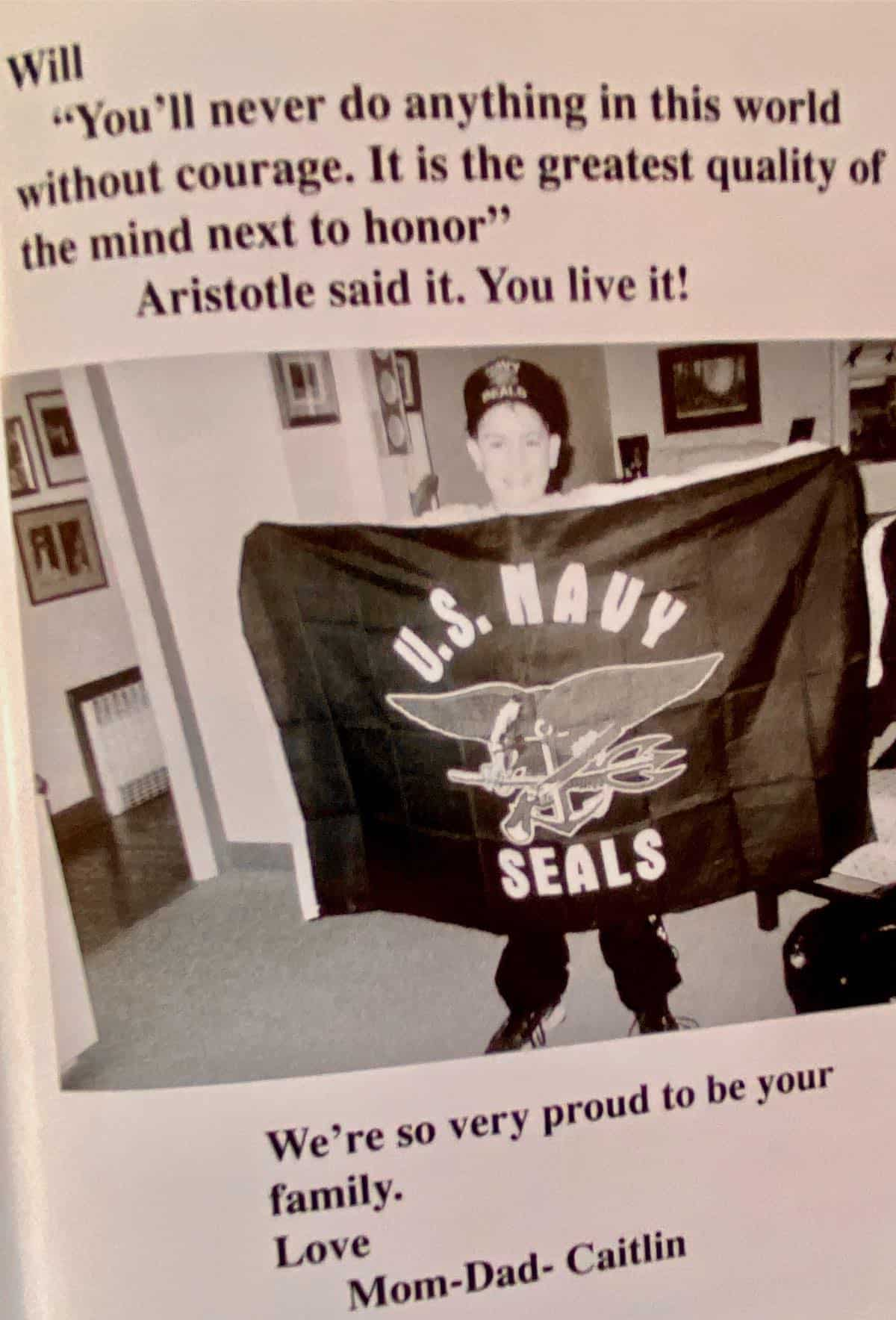 Our letter to Will. Will holding Navy SEALS sign