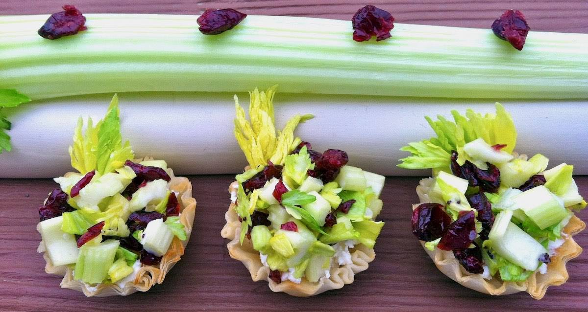 ants on a log phyllo cups