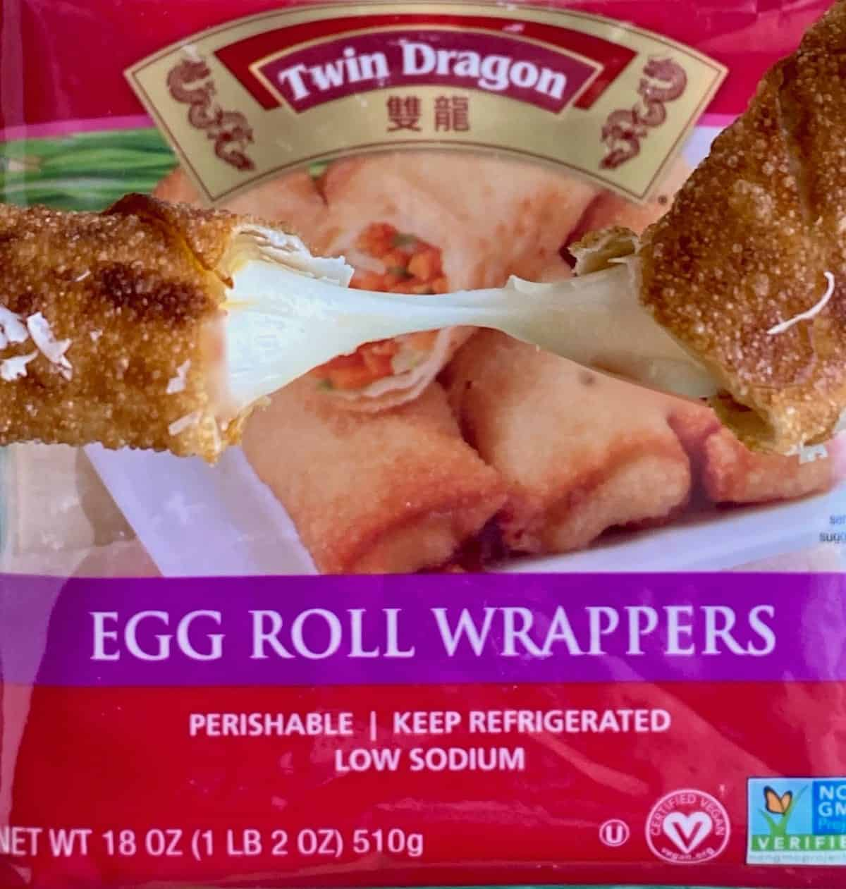 Twin Dragon egg roll wrapper package with egg roll cheese pull