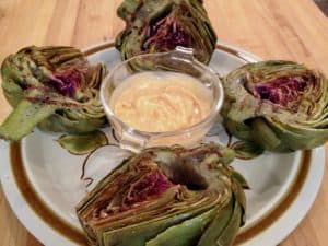 grilled artichokes and dip