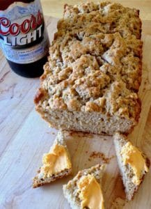 Super Bowl Beer Bread with horseradish cheddar