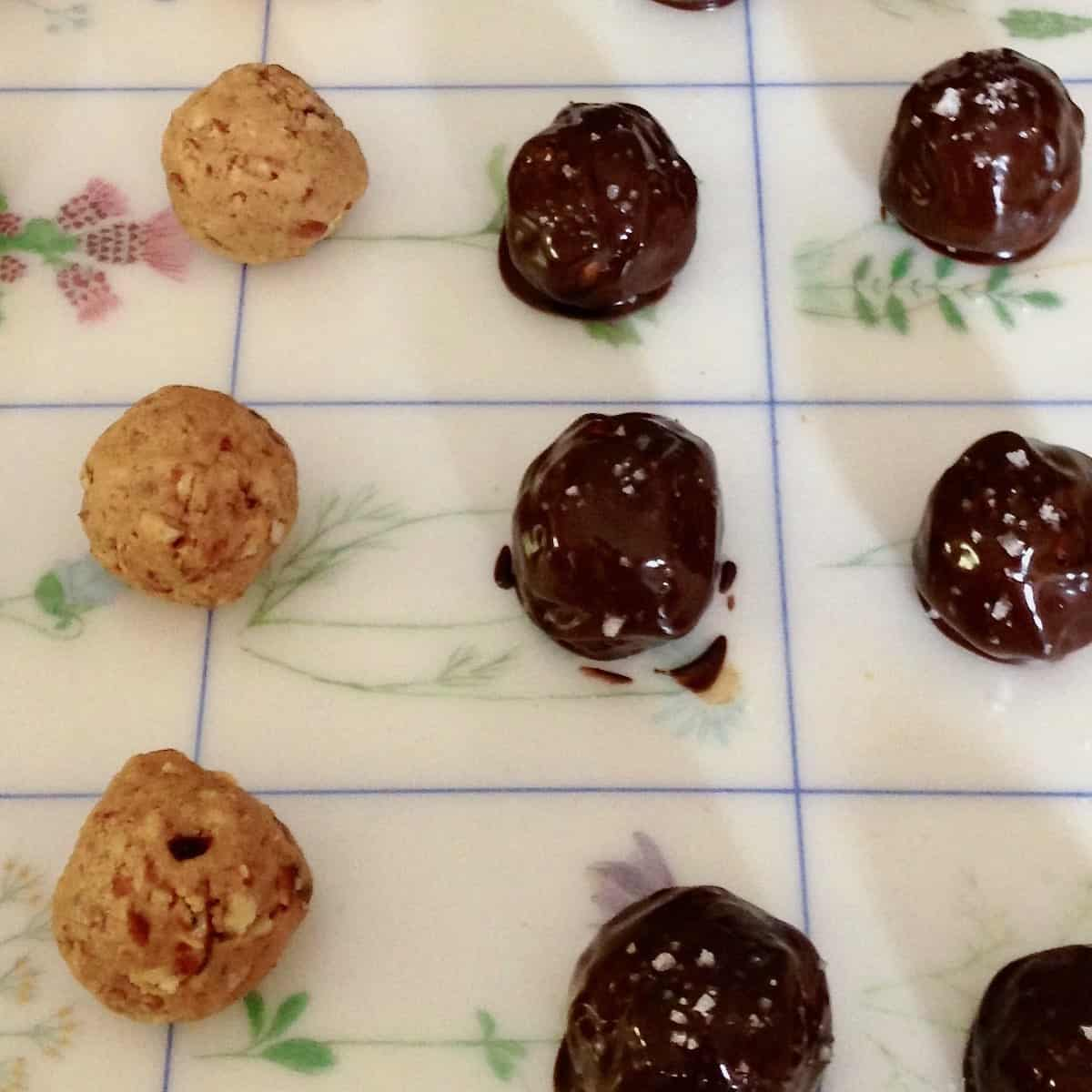 peanut butter pretzel balls before and after covered in chocolate