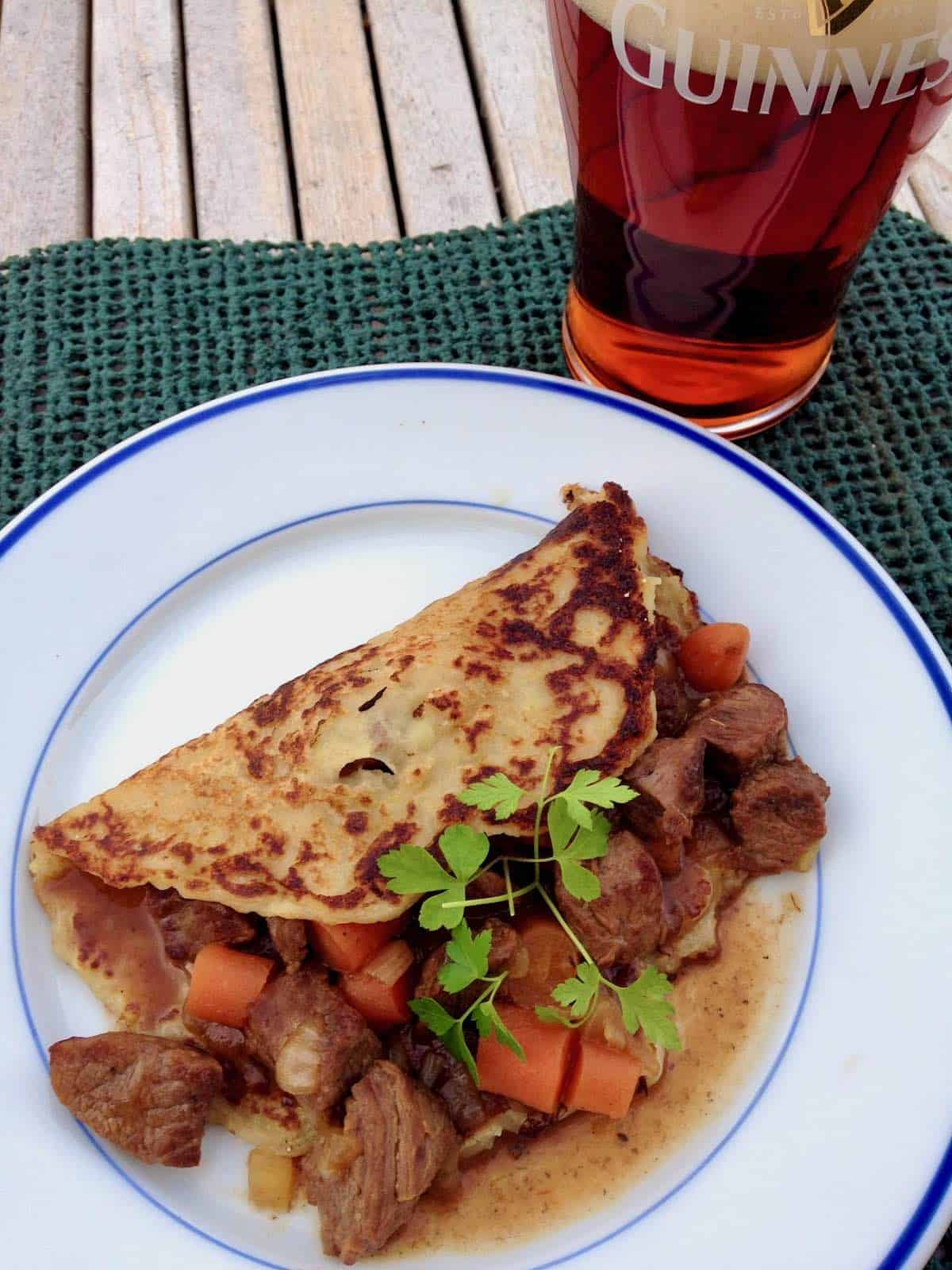 Guinness Beef Stew Boxty and a beer