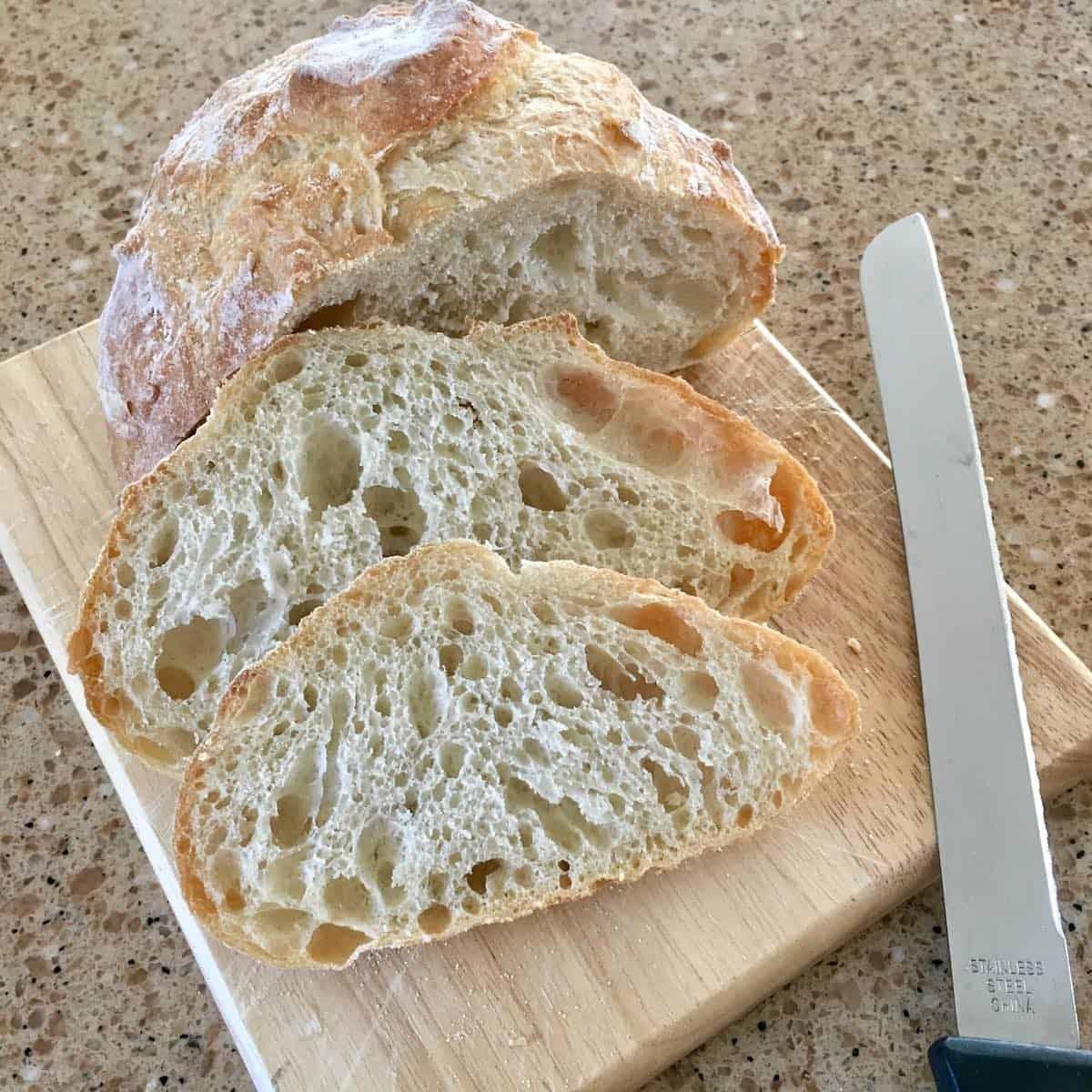 homemade white bread sliced