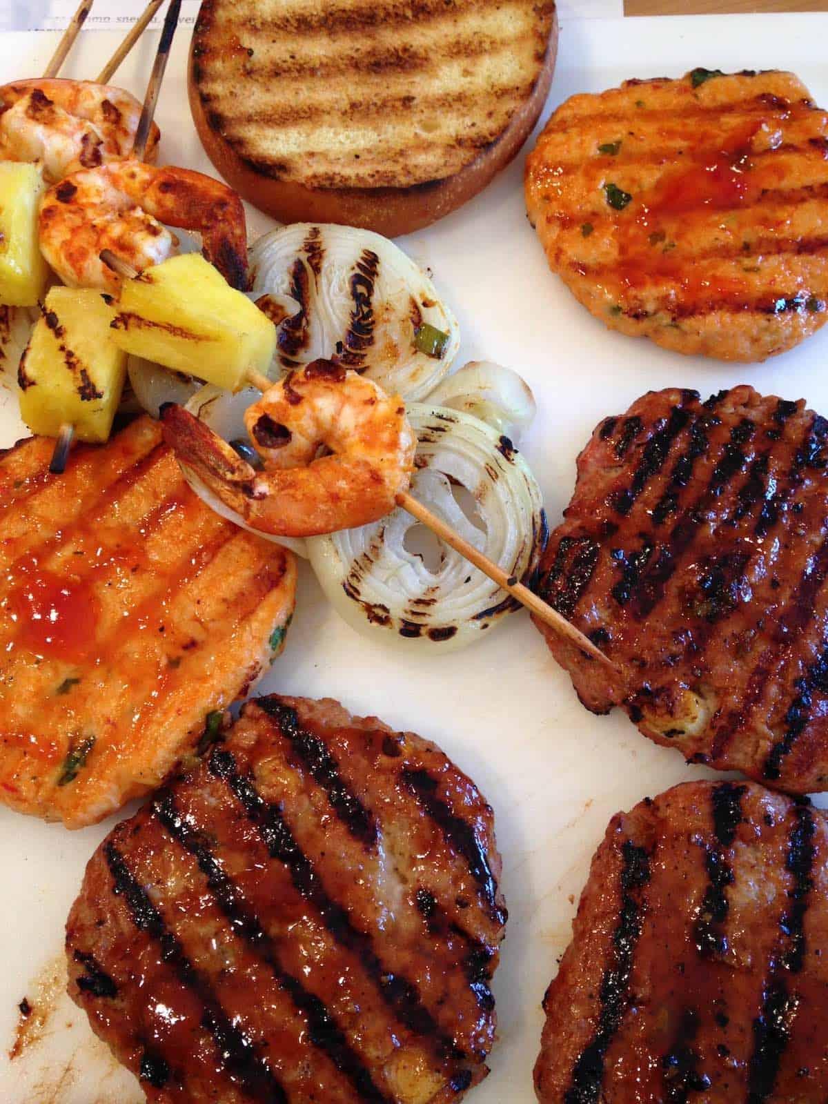 glazed burgers and shrimp, onions, pineapple