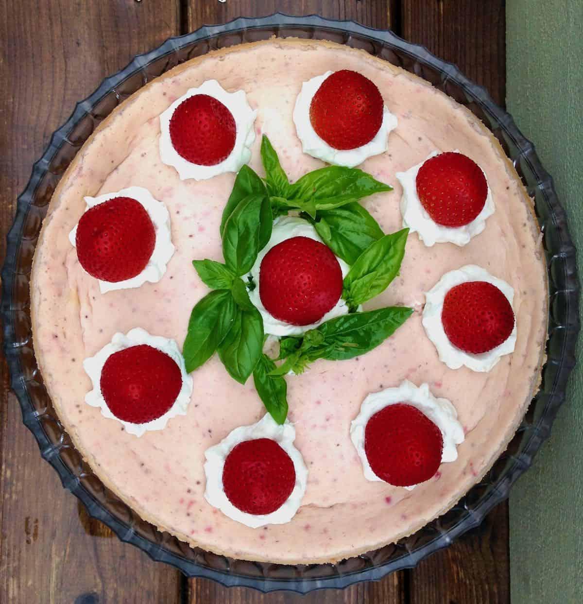 Basil Infused Strawberry Cheesecake