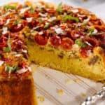 Sweet Yellow Cornbread, Sausage and Tomato Pie with a Garlic Cream Drizzle