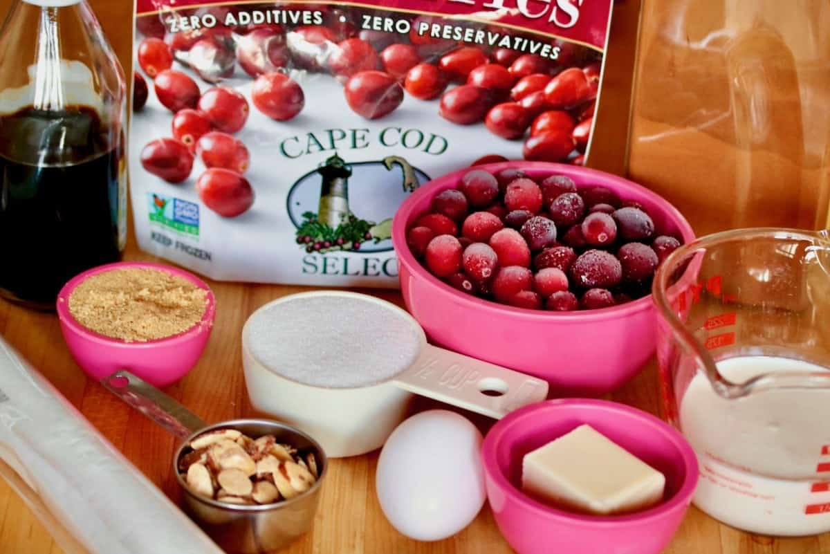 ingredients include vanilla, cranberries, sugar, almonds, eggs, butter, cream