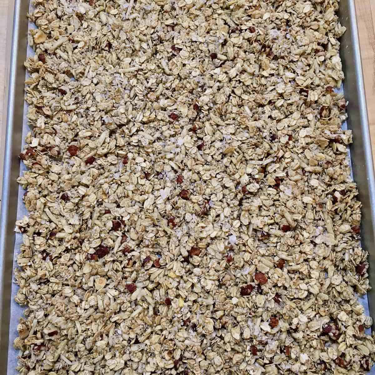 granola on sheetpan