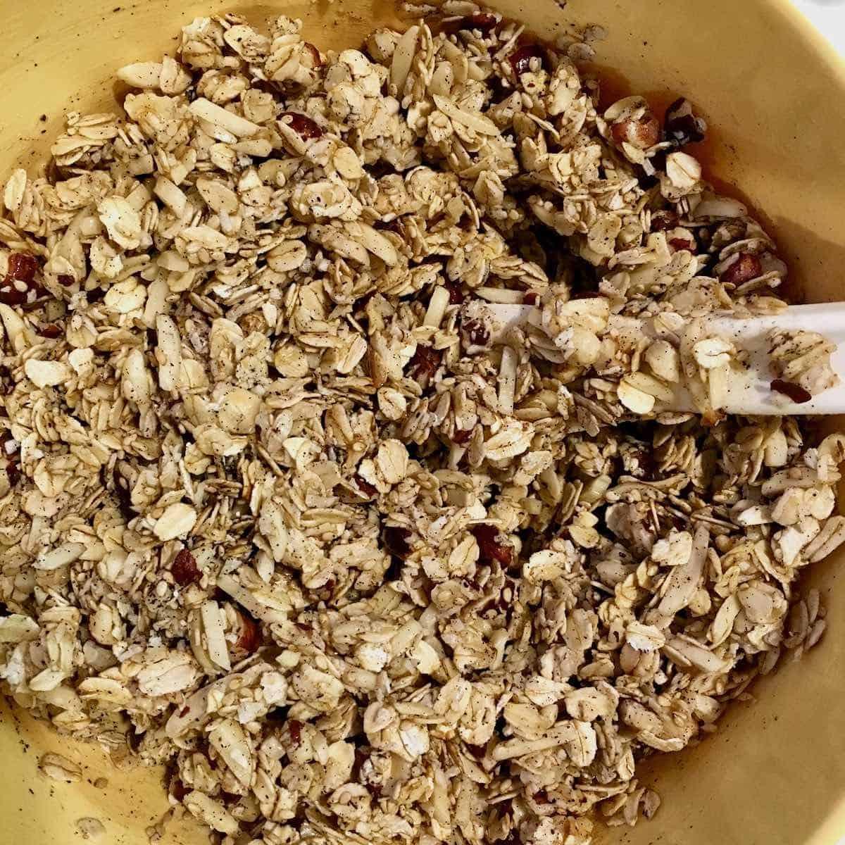mixing granola