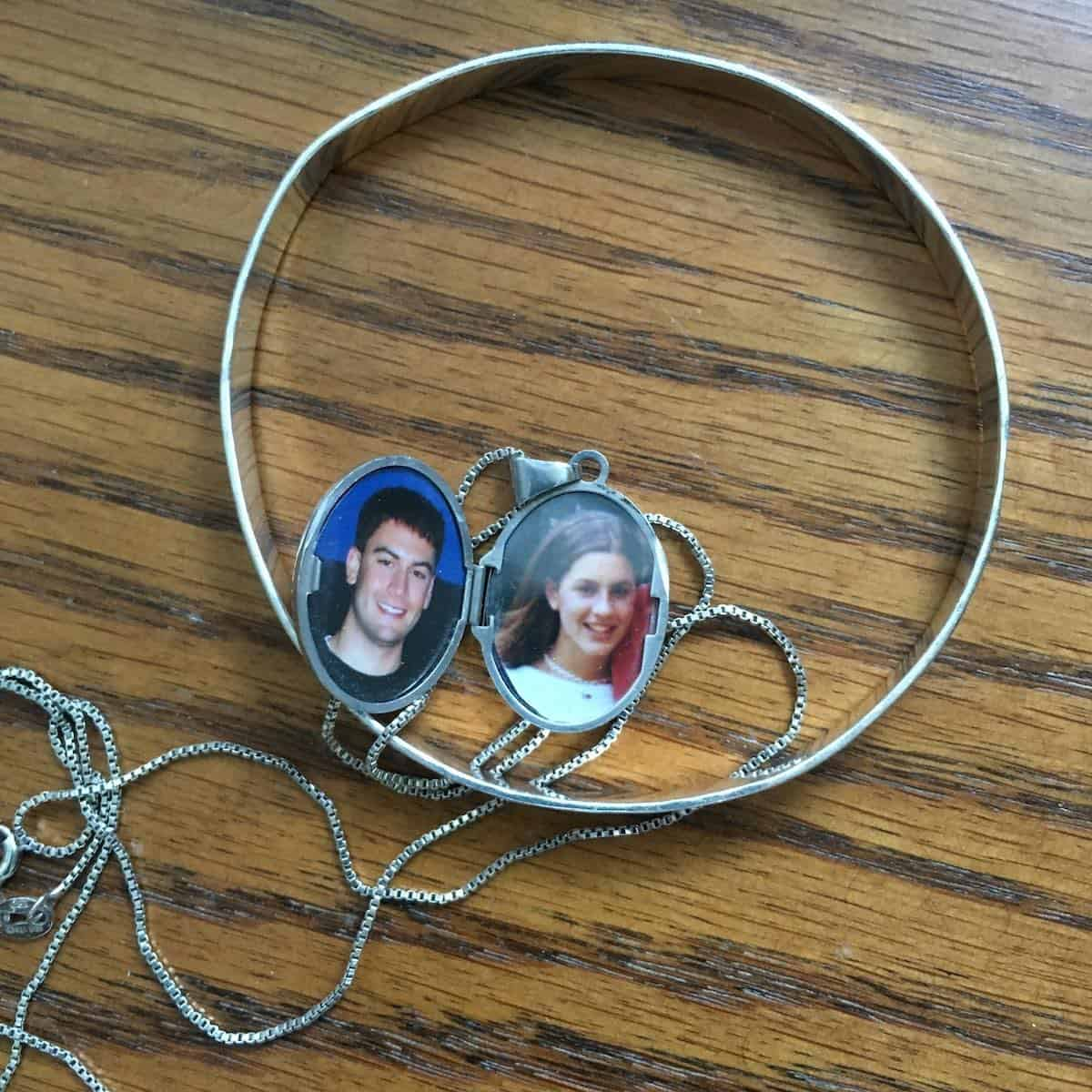 locket with kids photos in it and bracelet