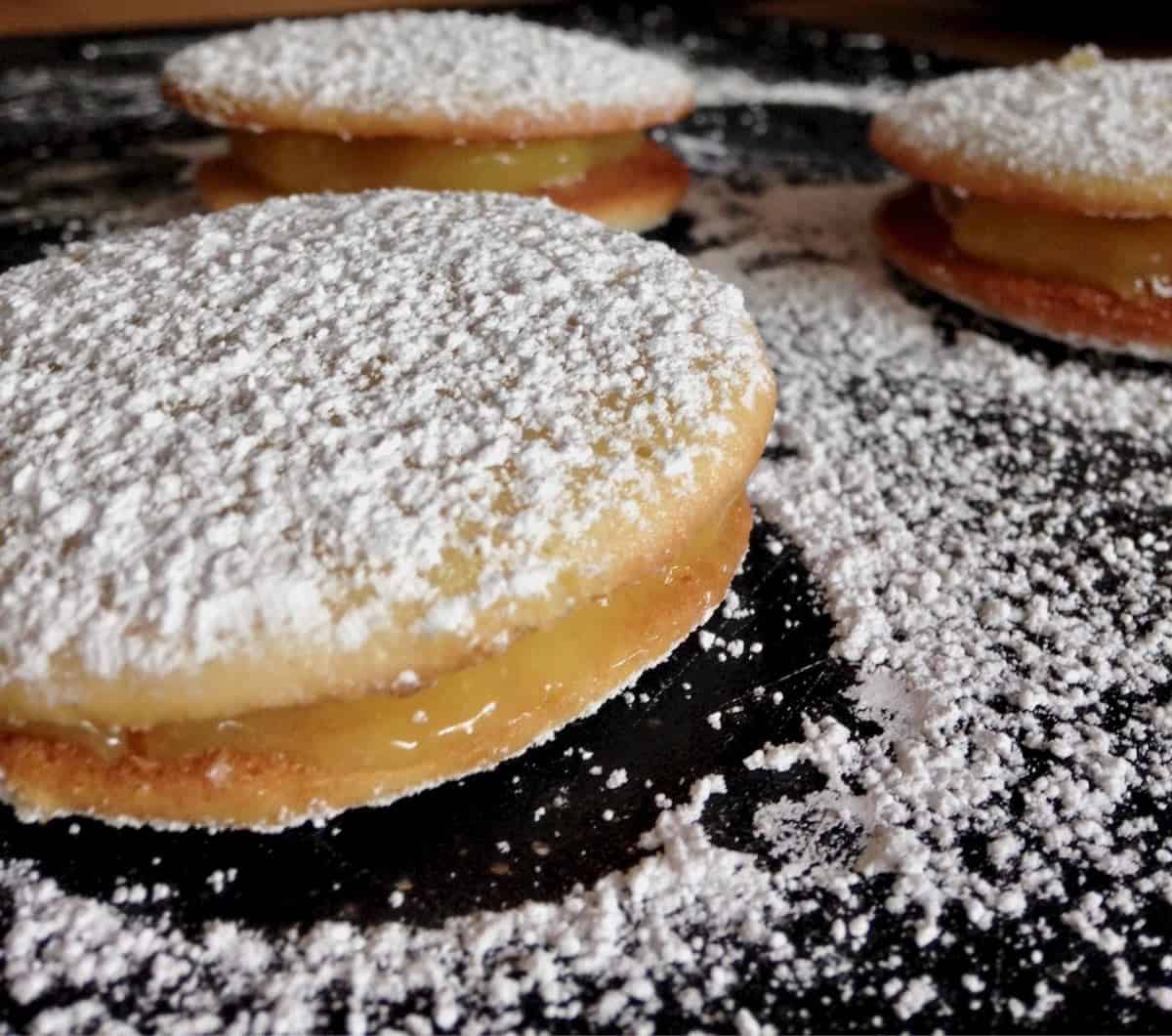 freshest corn whoopie pies filled with lemon curd and dusted with powdered sugar