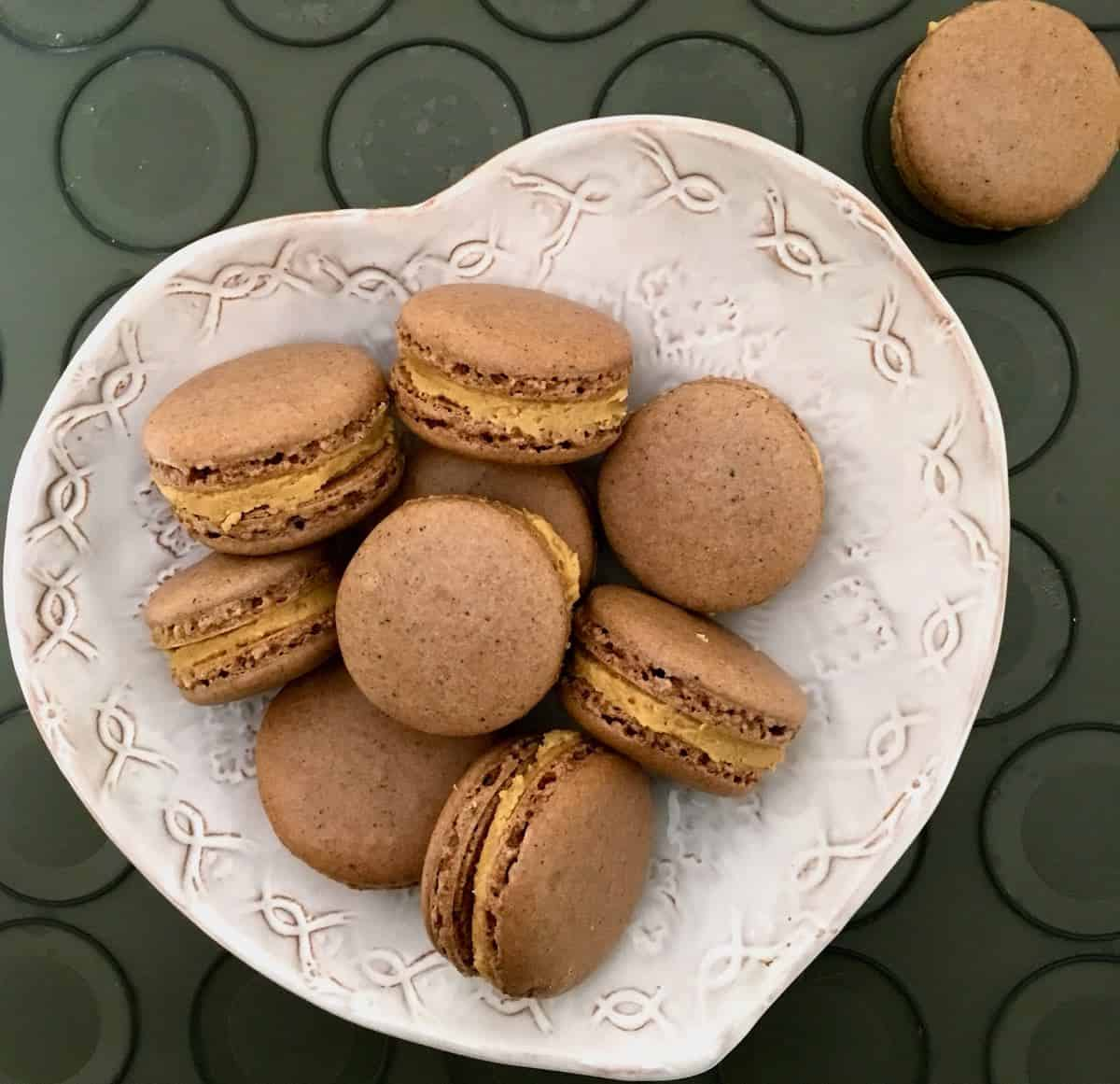 peanut butter filled chocolate macarons