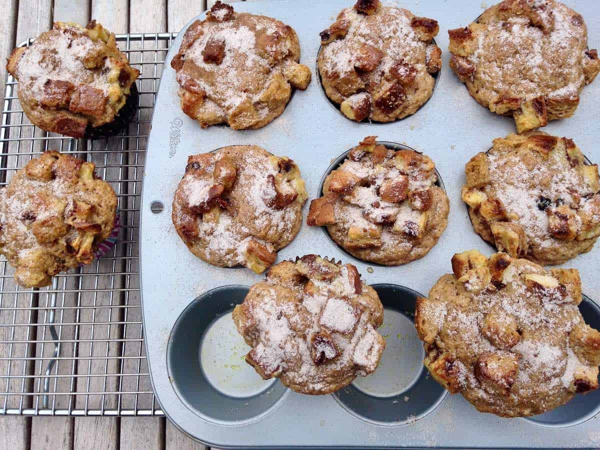 French toast muffins in pan on cooling rack