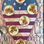 potato leek soup shooters on a patriotic tray