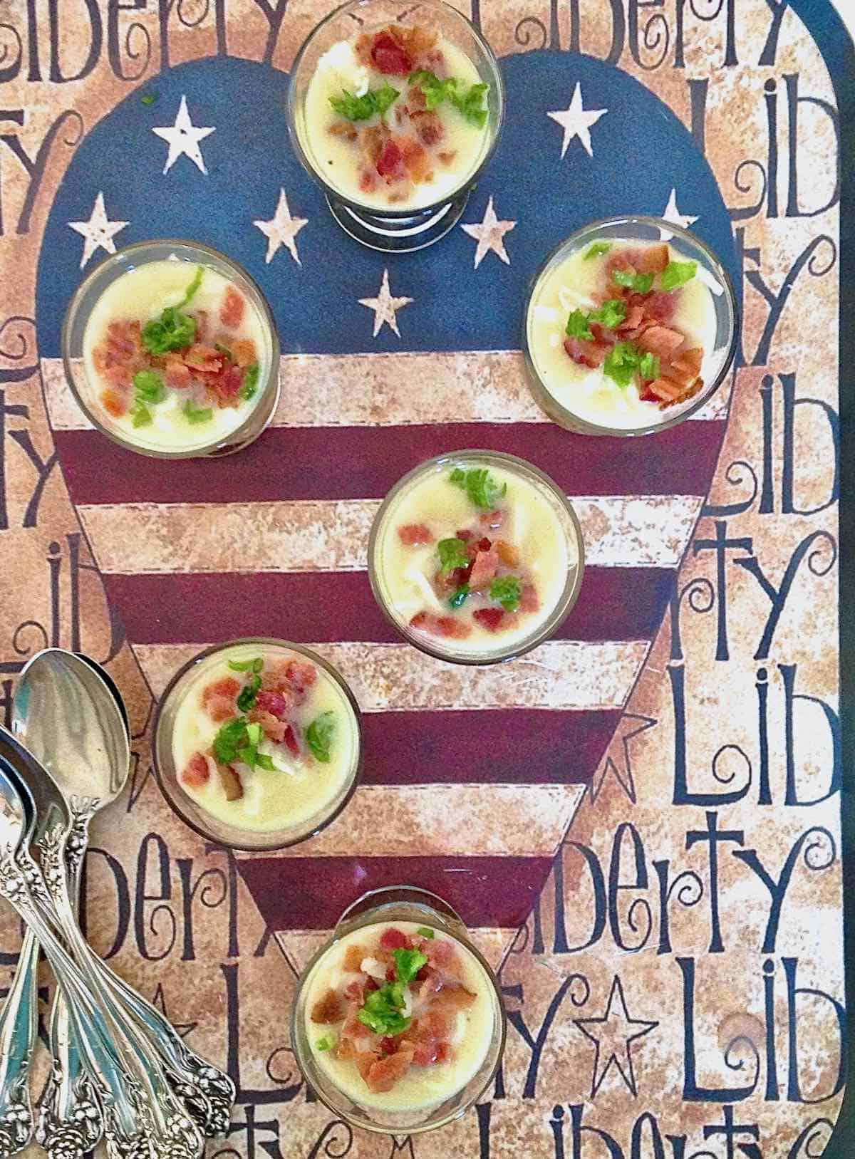 liberty allows you to garnish these Potato Leek Shooters any way your heart desires