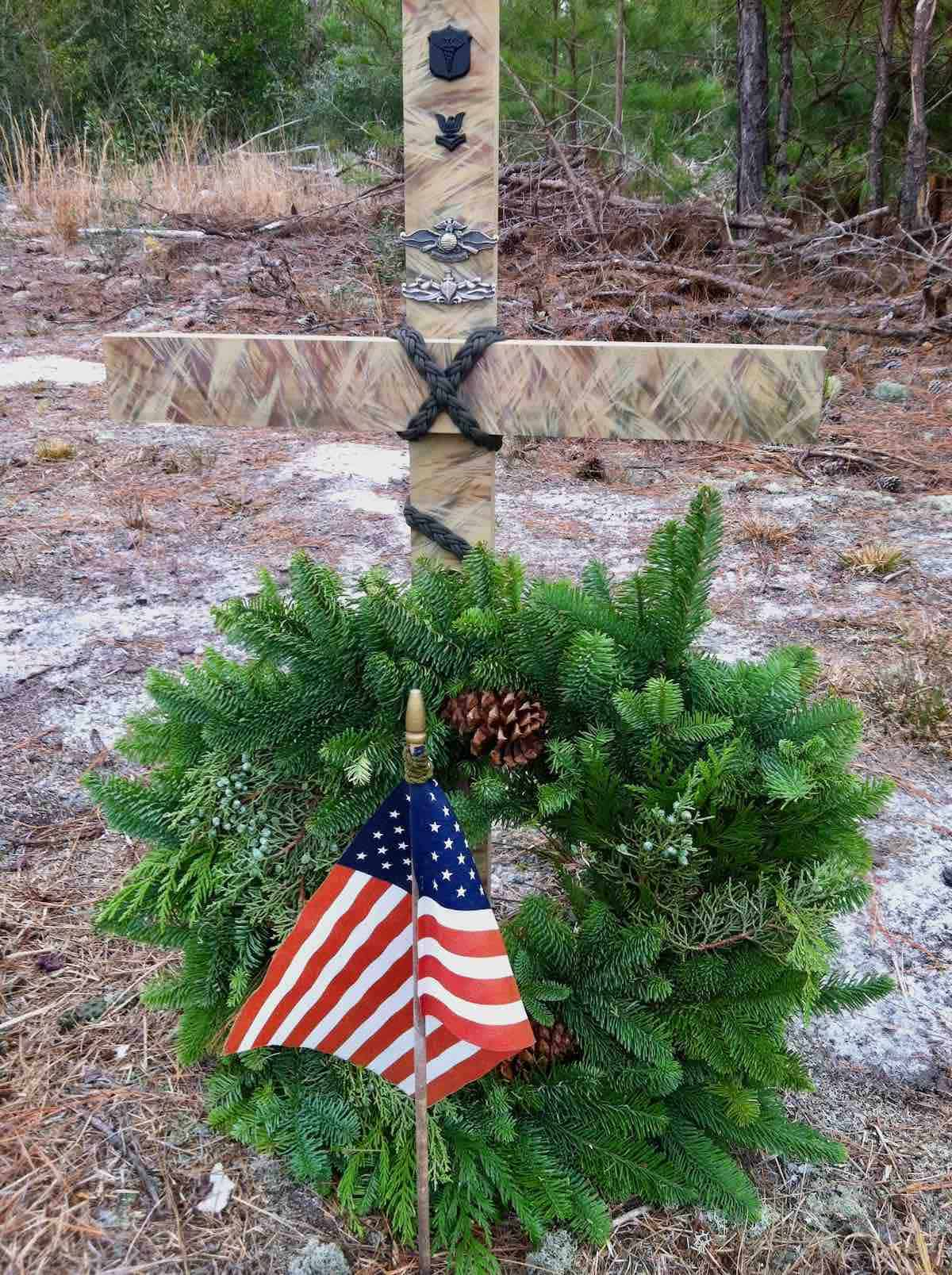 road side memorial wreath where my son was killed