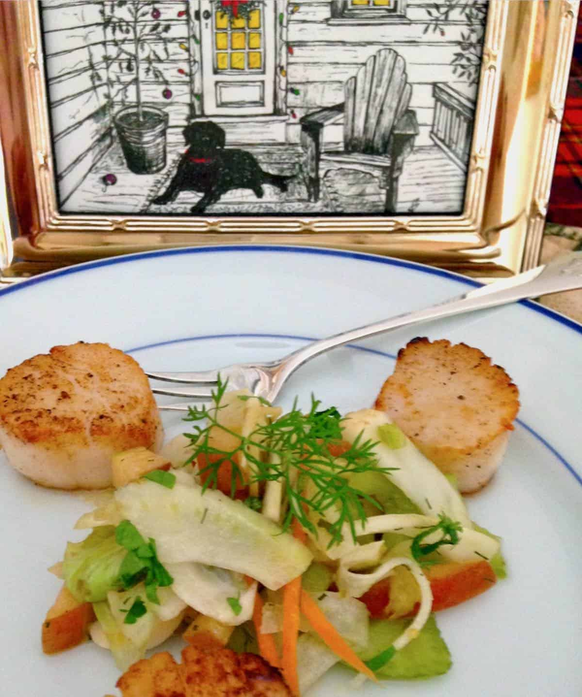 seared scallops with fennel apple slaw