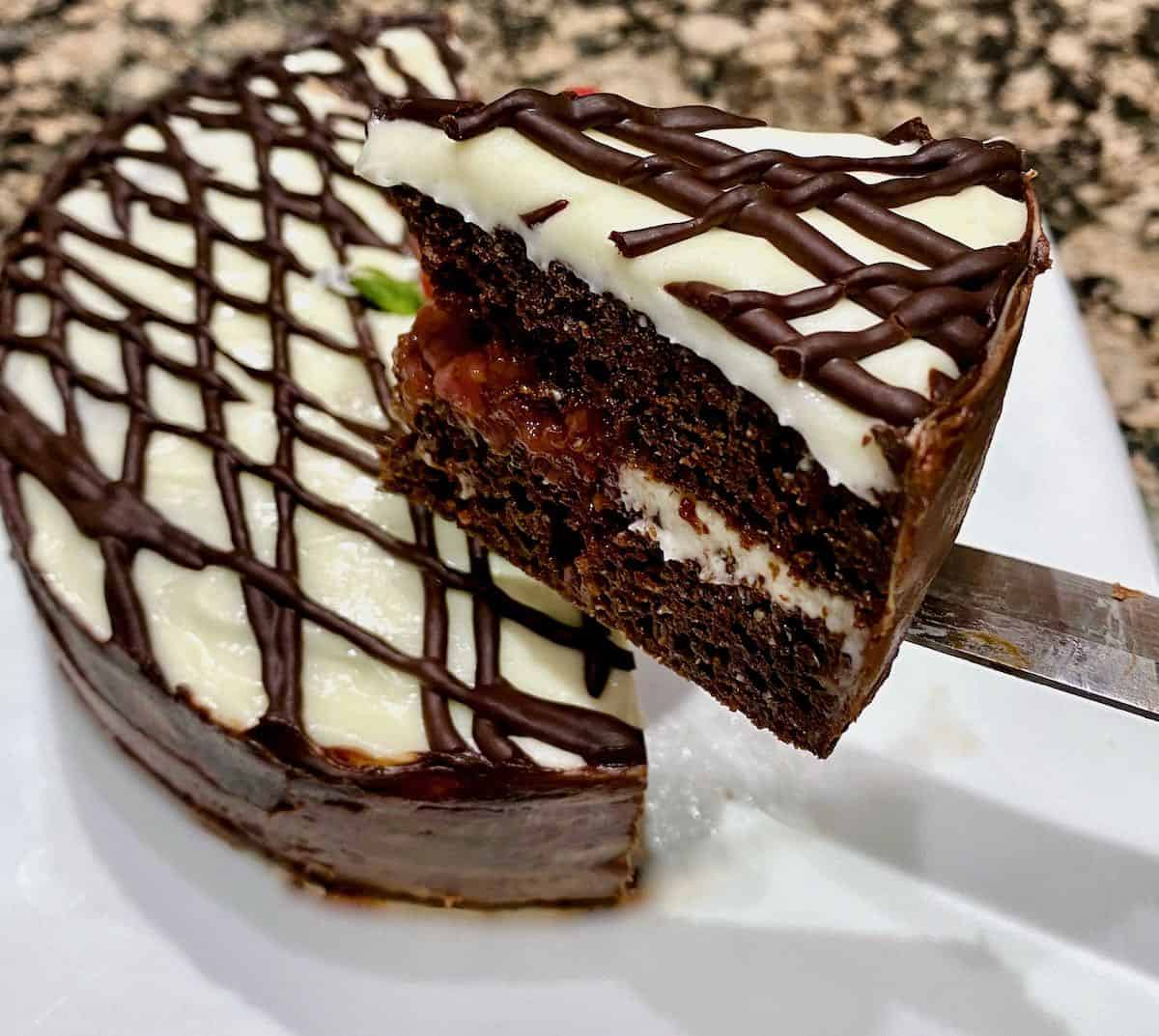 slice of sous vide chocolate cake