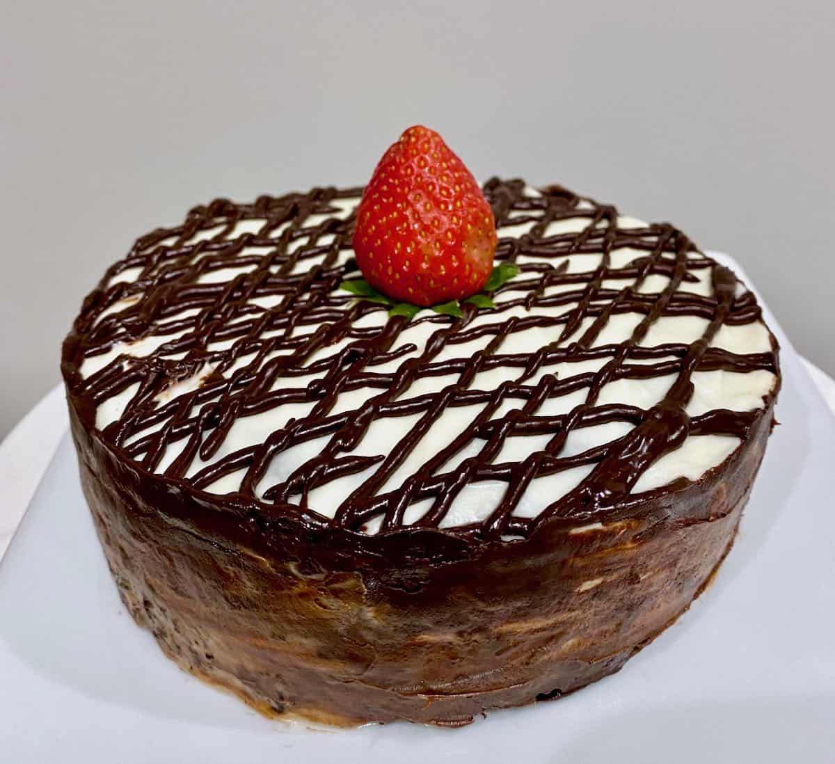 sous vide chocolate cake with strawberry on top