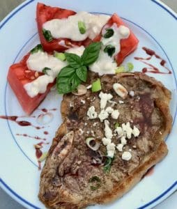 grilled steak and watermelon wedge salad