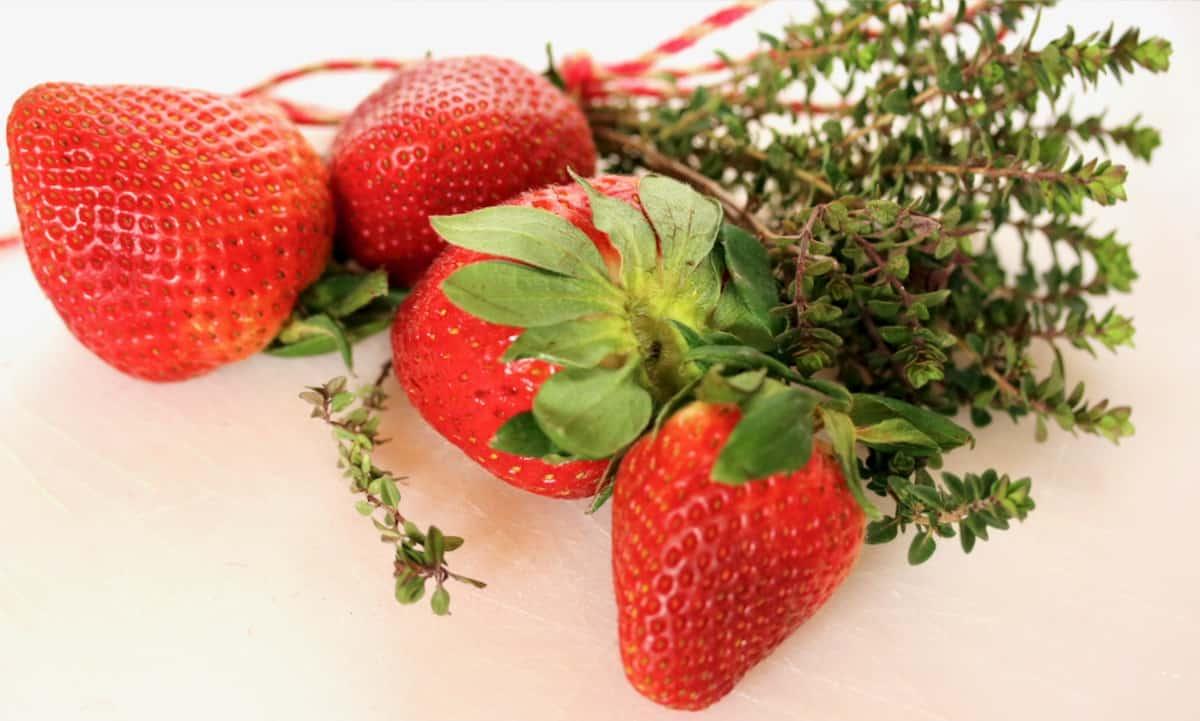 fresh thyme and strawberries
