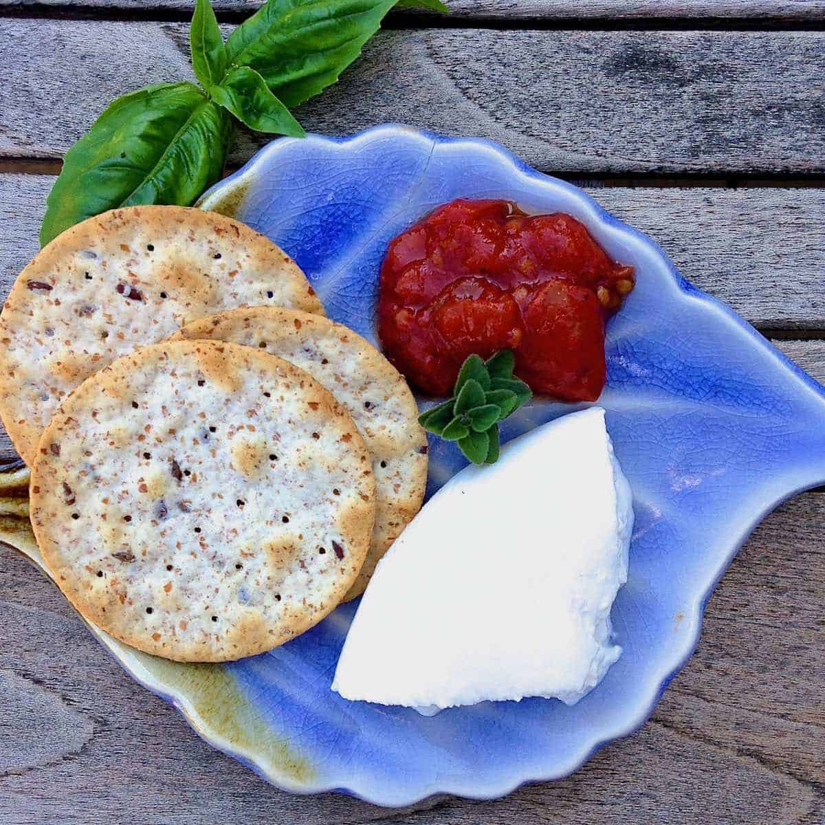 It's the jam with fresh oregano, cheese and crackers