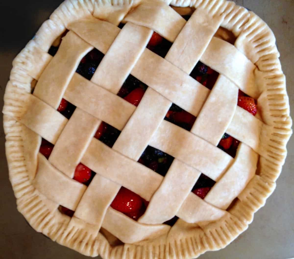 unbaked lattice pie