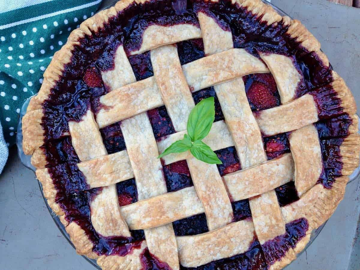 Chocolate Vinegar, Berry & Basil Pie