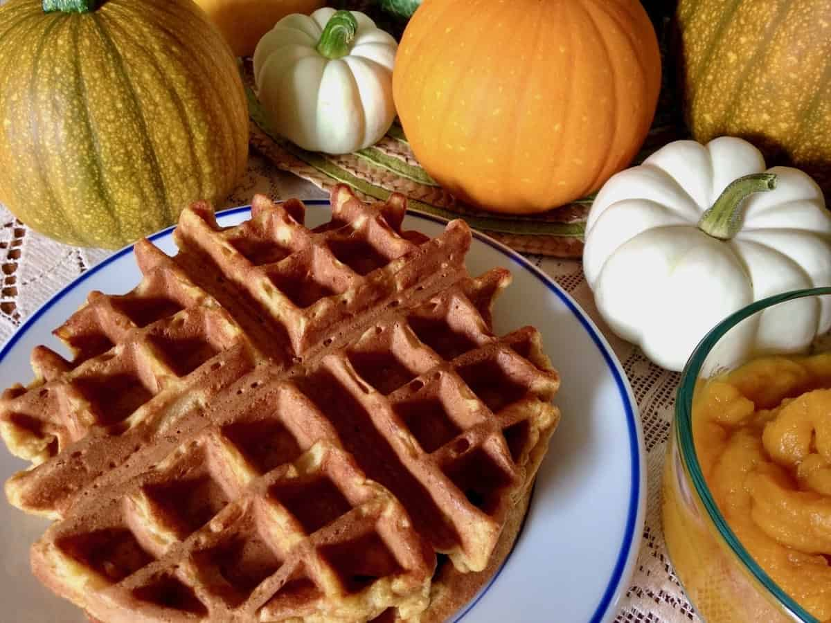 Most Delicious Belgian Waffles with pumpkins