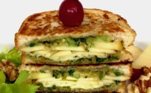 The Waldorf Salad Grilled Cheese with Candied Walnut Pesto