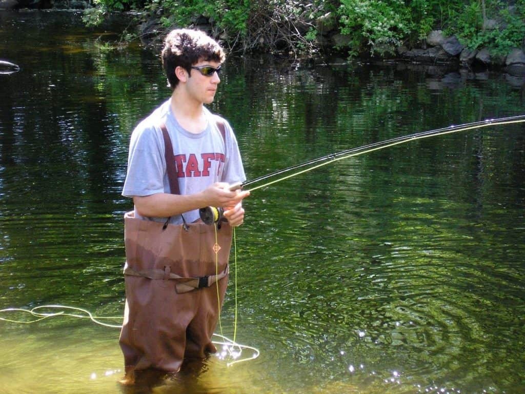 my son fly fishing