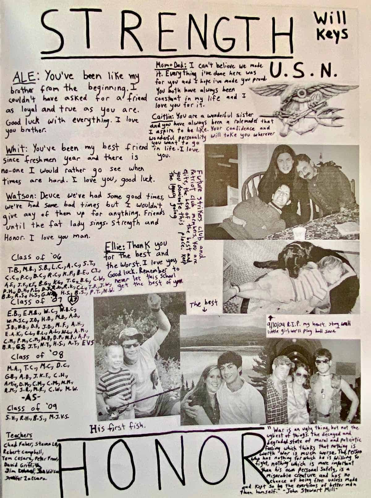 Will's yearbook page. I love all the things he wrote on his yearbook page.