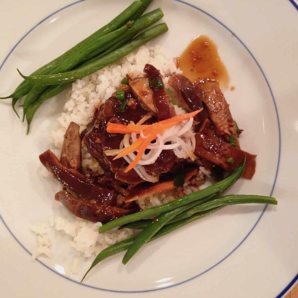 Asian short ribs with shitakes, pickled daikon/carrot, golden Carolia rice and haricot vert