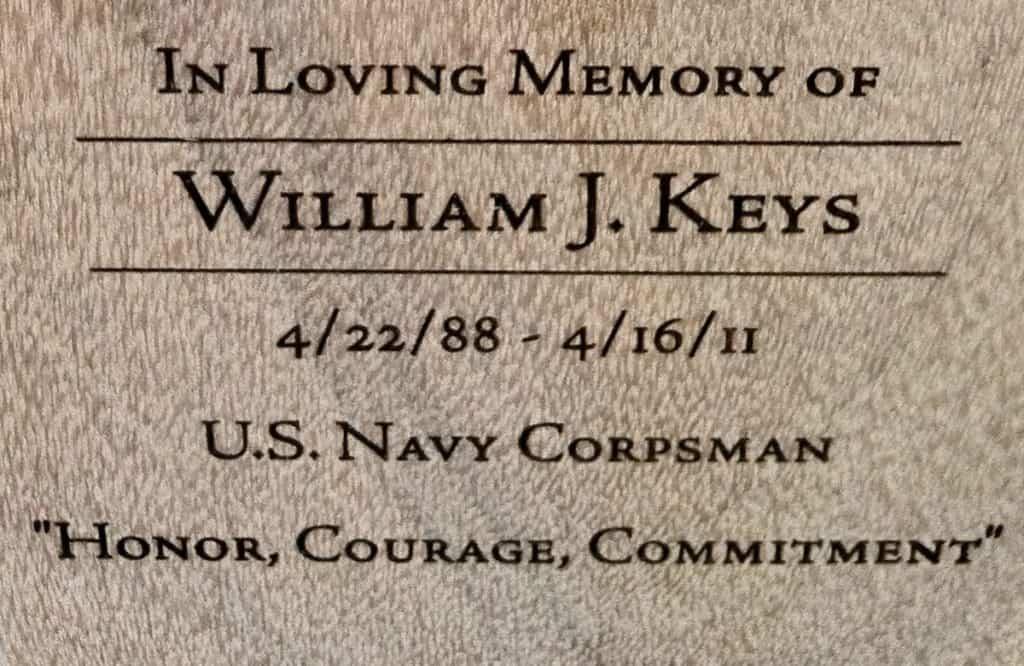 In Loving Memory of William J. Keys bench inscription
