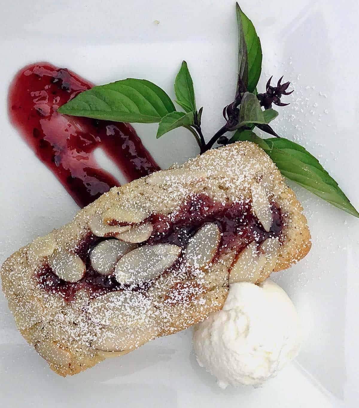 little blackberry almond cakes with Thai basil